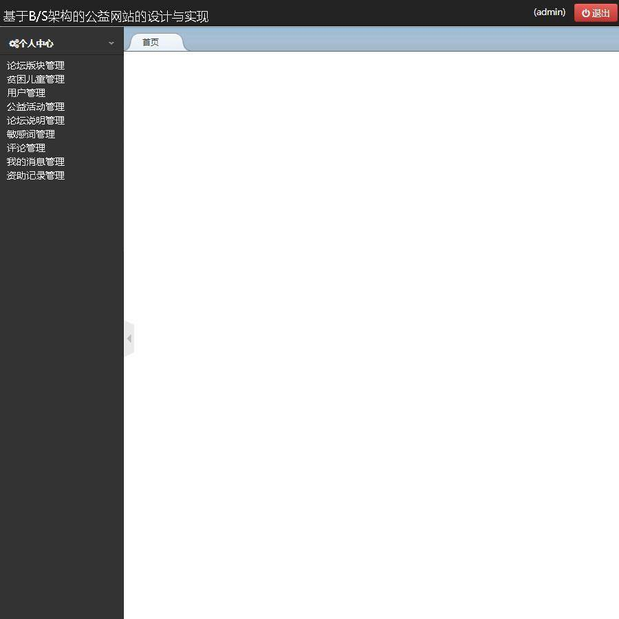 基于B/S架构的公益网站的设计与实现登录后主页